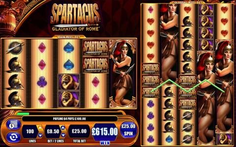 Spartacus Gladiator Of Rome :: Here is an example of a multiline win on the colossal reel set paying out a 615 coin jackpot