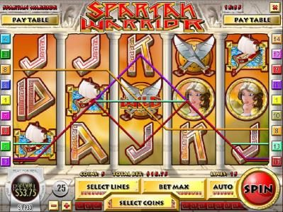 play2win featuring the Video Slots Spartan Warrior with a maximum payout of $25,000