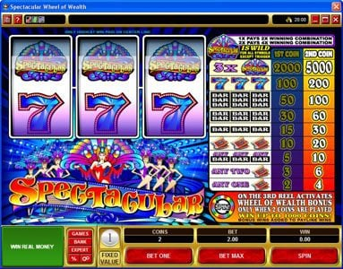 Vegas Slot featuring the Video Slots Spectacular with a maximum payout of $25,000