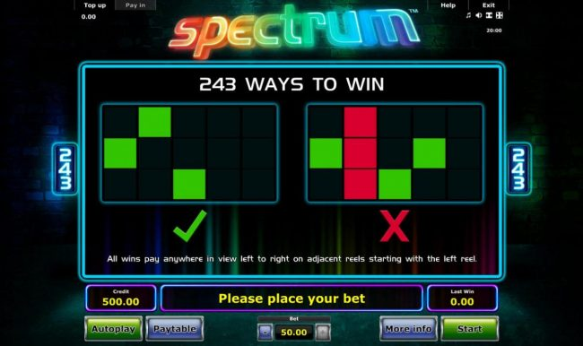 Spectrum :: 243 Ways to Win - All wins pay anywhere in view left to right on adjacent reels starting with the left reel.
