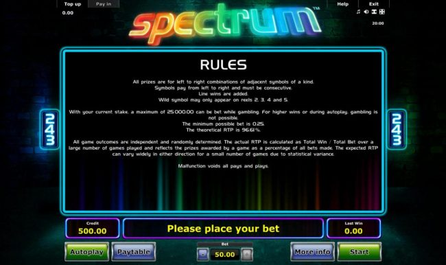 Spectrum :: General Game Rules - The theoretical average return to player (RTP) is 96.61%.