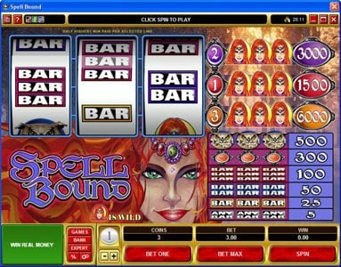 Play slots at Luxury: Luxury featuring the Video Slots Spell Bound with a maximum payout of $30,000