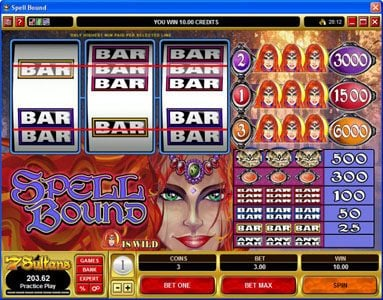 Vbet Casino featuring the Video Slots Spell Bound with a maximum payout of $30,000