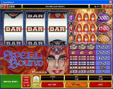 Casino Luck featuring the Video Slots Spell Bound with a maximum payout of $30,000