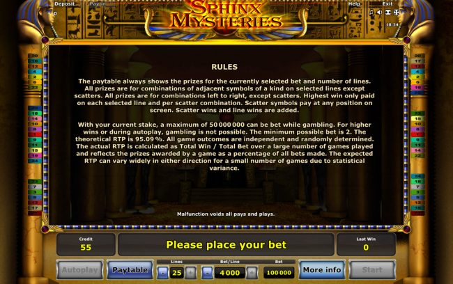 Club Vulkan featuring the Video Slots Sphinx Mysteries with a maximum payout of $40,000,000