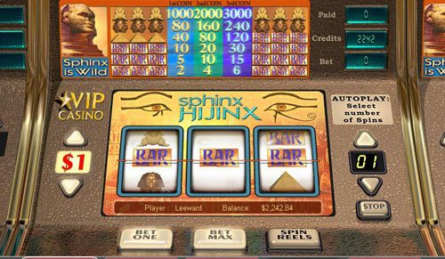 Spinland featuring the video-Slots Sphinx Hijinx with a maximum payout of 3,000x