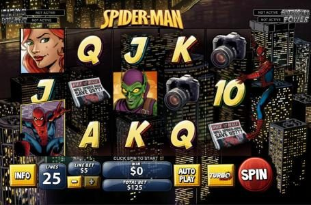 Main game board featuring five reels and 25 paylines with a progressive jackpot for a max payout
