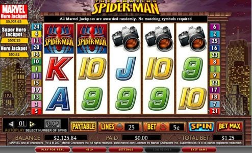 Royal House featuring the video-Slots Spider-man with a maximum payout of 5,000x
