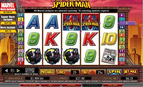 Fruity Vegas featuring the video-Slots Spider-man with a maximum payout of 5,000x