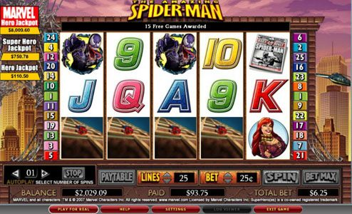 ZigZag777 featuring the video-Slots Spider-man with a maximum payout of 5,000x