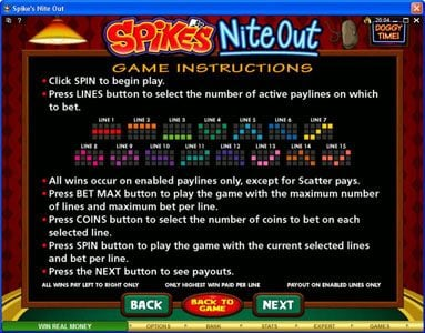 Play slots at Players Palace: Players Palace featuring the Video Slots Spike's Nite Out with a maximum payout of $30,000
