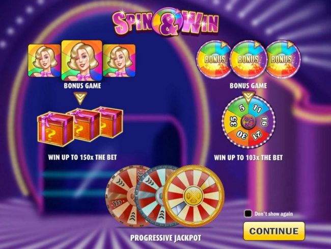Instacasino featuring the Video Slots Spin & Win with a maximum payout of $150,000