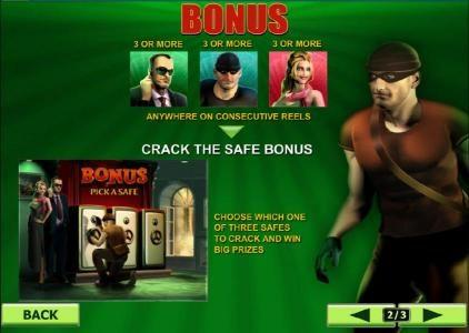 Crack the Safe Bonus - choose a safe to crack and reveal a prize award