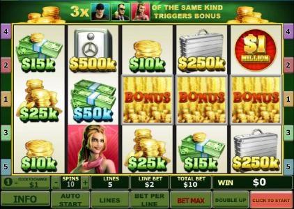 Three bonus symbols triggers the Crack the Safe bonus feature