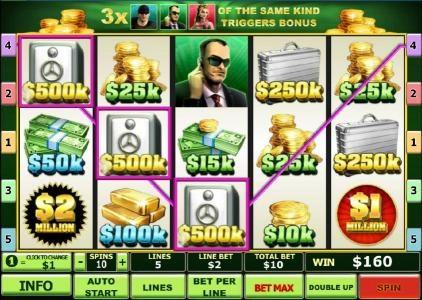 three of a kind triggers a $160 jackpot