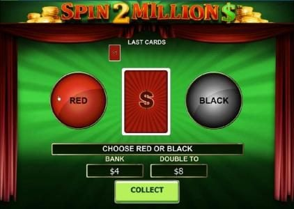 Double-Up feature game board - choose the correct color to increase your winnings