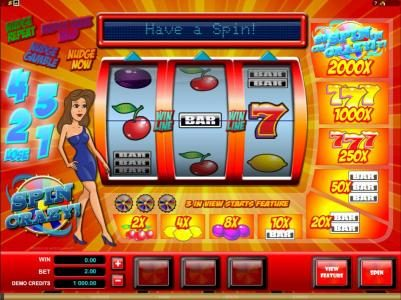Casino Kingdom featuring the Video Slots Spin Crazy with a maximum payout of $20,000