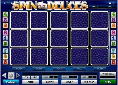 Spin Deuces :: main game board featuring five reels and nine paylines