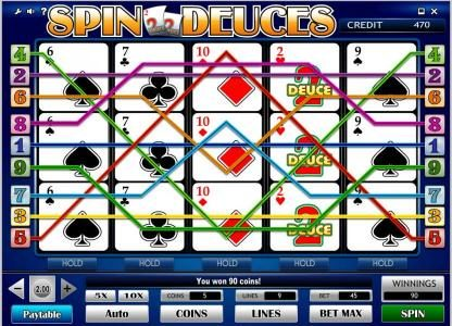 King Billy featuring the Video Slots Spin Deuces with a maximum payout of $40,000