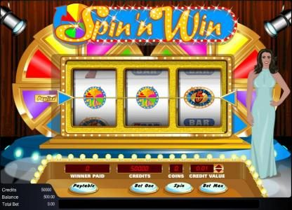 Play slots at Mega Casino: Mega Casino featuring the Video Slots Spin 'n Win with a maximum payout of 12500x