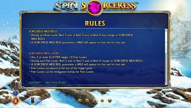 Sorceress Wild Reels and Sorceress Free Games Rules and How to Play.