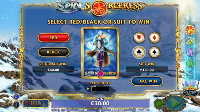 6 Black featuring the Video Slots Spin Sorceress with a maximum payout of $1,000