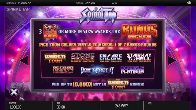 Reel Vegas featuring the Video Slots Spinal Tap with a maximum payout of $250,000