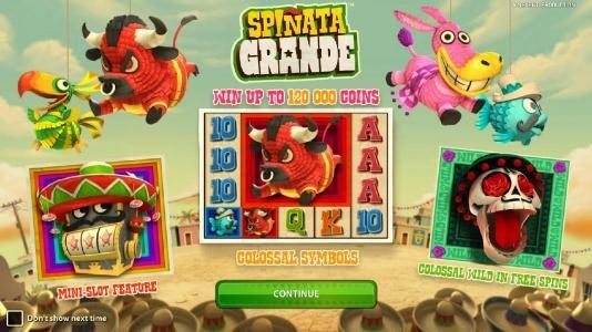 Magik Slots featuring the Video Slots Spinata Grande with a maximum payout of $3,000