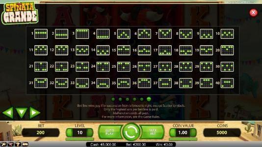 Spinata Grande :: Payline Diagrams - 1-40