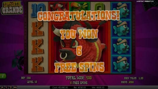 Winner Million featuring the Video Slots Spinata Grande with a maximum payout of $3,000