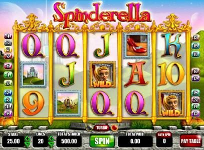 Spinderella :: Main game board featuring five reels and 20 paylines with a $250,000 max payout