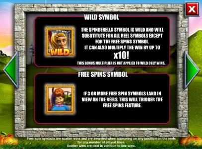 Spinderella :: Wild symbol and Scatter symbol rules