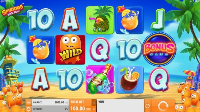 CKcasino featuring the Video Slots Spinions Beach Party with a maximum payout of $200,000