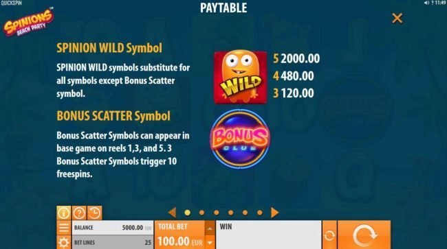 Casumo featuring the Video Slots Spinions Beach Party with a maximum payout of $200,000