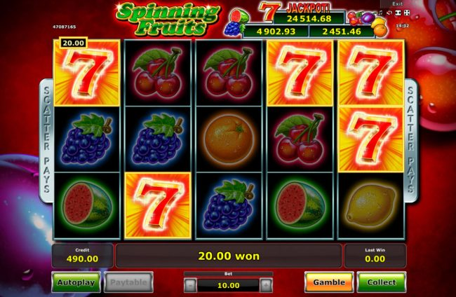 Ladbrokes featuring the Video Slots Spinning Fruits with a maximum payout of Jackpot