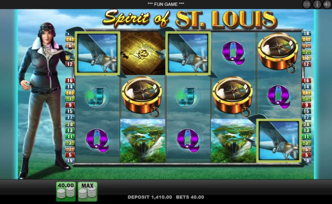 Queen Vegas featuring the Video Slots Spirit of St. Louis with a maximum payout of $2,000