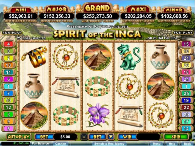 Pure Vegas featuring the Video Slots Spirit of the Inca with a maximum payout of $10,000