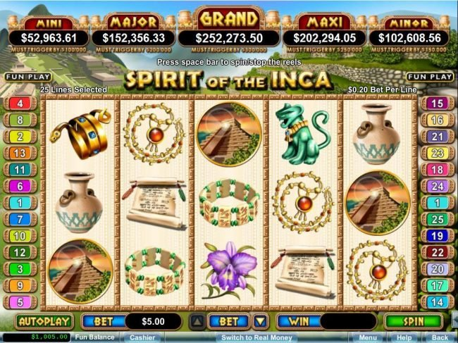 Ancient civilization themed main game board featuring five reels and 25 paylines with a progressive jackpot max payout