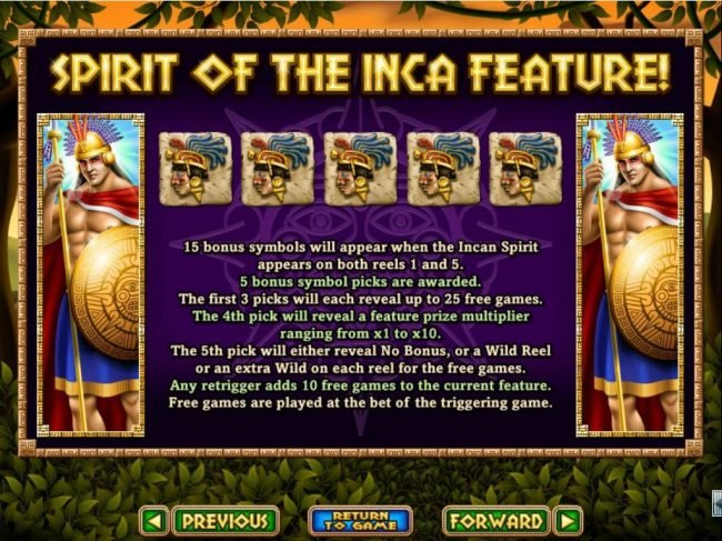 Palace of Chance featuring the Video Slots Spirit of the Inca with a maximum payout of $10,000