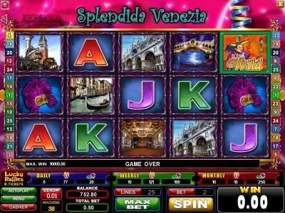 Casinoval featuring the Video Slots Splendida Venezia with a maximum payout of $2,500