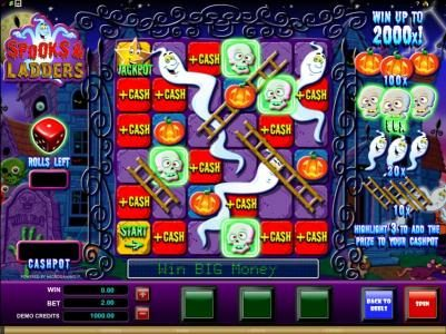 Blackjack Ballroom featuring the Video Slots Spooks & Ladders with a maximum payout of $20,000