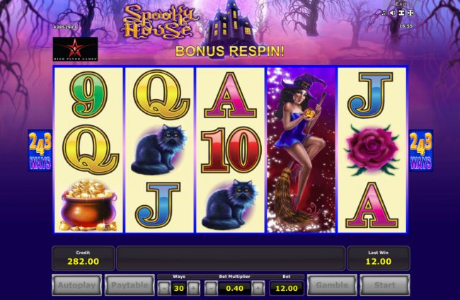 Play slots at Hyper Casino: Hyper Casino featuring the Video Slots Spooky House with a maximum payout of $182,250