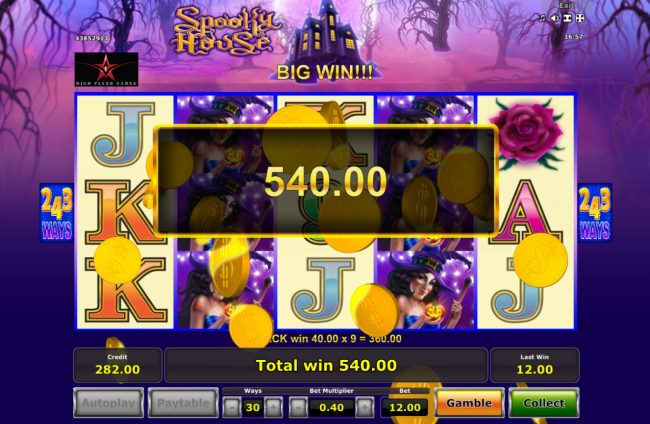 Casumo featuring the Video Slots Spooky House with a maximum payout of $182,250