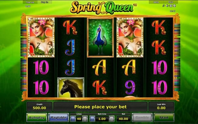 Spring Queen :: A nature themed main game board featuring five reels and 40 paylines with a $40,000 max payout