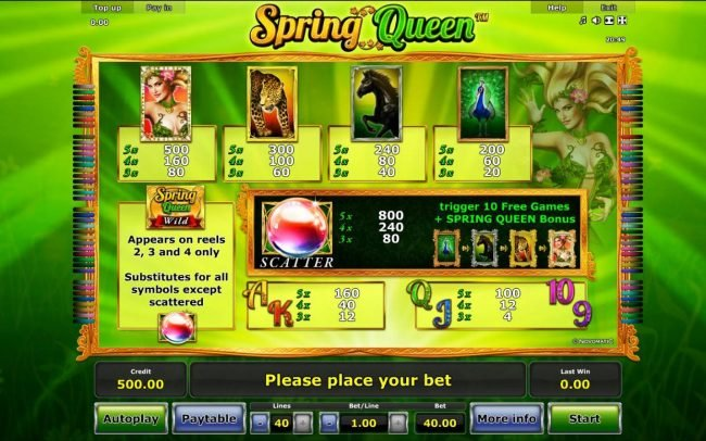 Spring Queen :: Slot game symbols paytable featuring nature and animal themed icons.