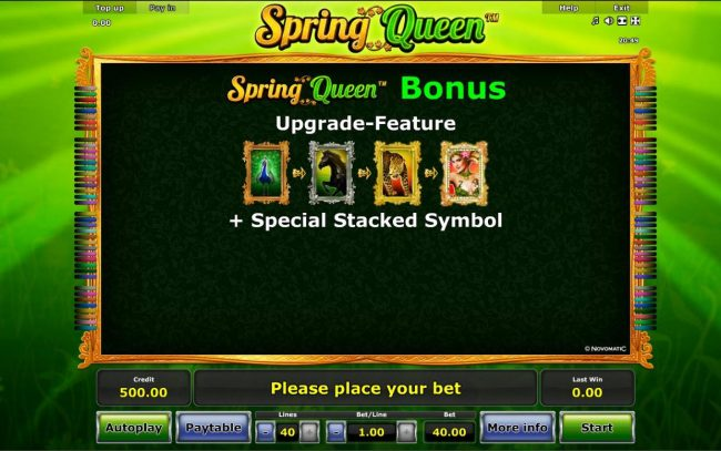 Spring Queen :: Spring Queen Bonus Upgrade-Feature + Special Stacked Symbol