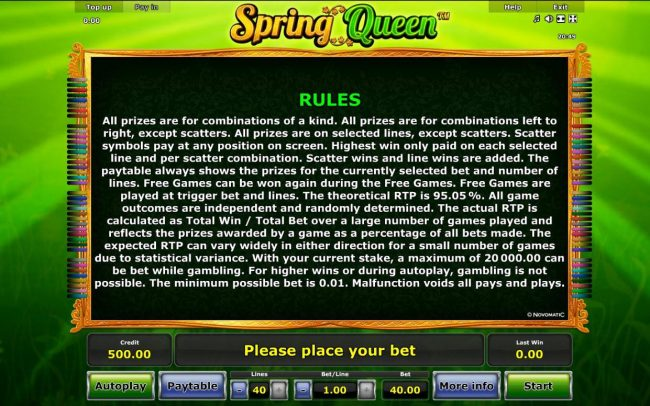 Spring Queen :: General Game Rules - The theoretical average return to player (RTP) is 95.05%.