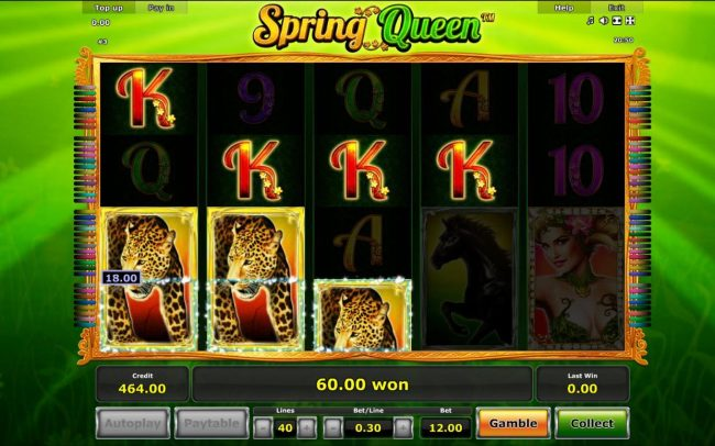 Spring Queen :: Multiple winning paylines triggers a big win!