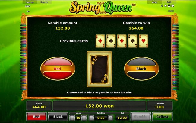 Spring Queen :: Gamble Feature - To gamble any win press Gamble then select Red or Black.