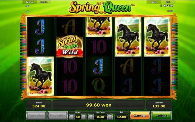 Spring Queen :: A winning Five of a Kind leads to a big win.